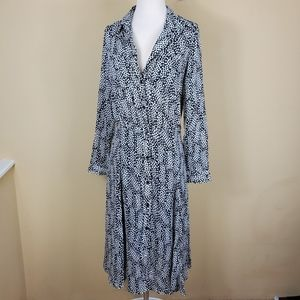 Who What Wear Button Front Long Sleeve Dress